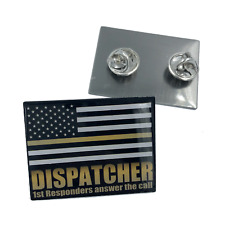 911 Emergency Dispatcher Thin Gold Line Flag Pin
