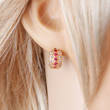 18k Gold filled Hoops ElegantFashion Earrings Red and white Zircon Stone