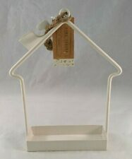 "New listing Horizon Group Bird Feeder Metal House-Shape Hanging or Free Standing White 9"""