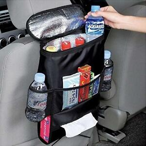 Car Back Seat Organiser with Insulated Cool Bag - Drinks Cooler Holder Thermal
