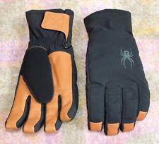 SPYDER Men's Alpine SKI GLOVES, Black w/Camel Brown Leather, Medium NWOT