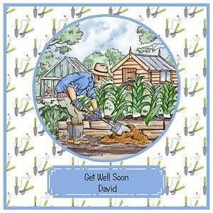 Handmade Personalised Get Well Soon Card Gardening Garden Allotment Shed Carrots