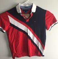 Tommy Hilfiger Men's Polo Shirt Red w/Blue-White Stripe Vintage Flag Logo L