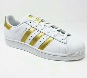 Youth Big Girls Adidas originals superstar casual shoes white-gold-blue B39402