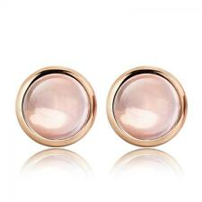Pink Jewelry Earrings Rose Gold Plated Round Crystal Ear Stud