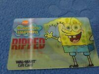 Spongebob Squarepants Walmart 1 Gift Card NO $ Value Collectible Only