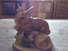 Homco bunny on a log log #1411