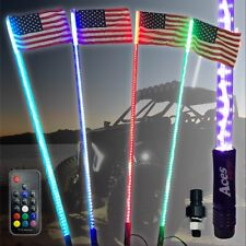 LED Lighted Whip 4ft 20 Colors 200 Combination American Flag and Quick Connect
