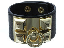 Hip Hop Punk Black Leather Band Bracelet w/ Gold Pyramid Studs & Dog Collar Pull
