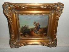 19th century oil painting +- 1870,{ Happy people having a stroll, nice frame! }.