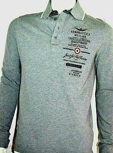 100% original AERONAUTICA MILITARE Herren Polo Shirt Langarm NEU NEW Etikett M