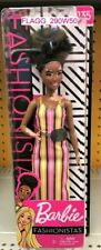 Barbie FASHIONISTA DOLL African American Vitiligo Skin Striped Dress #135 Petite