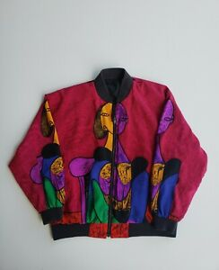 Vintage 80s 90s Picasso All Over Print Satin Polyester Jacket Women's One Size