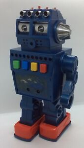 Vintage 1970s Blue Battery Operated Robot Working Order But Incomplete