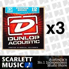 3x Jim Dunlop Acoustic Guitar String Set Light 12-54 Phosphor Bronze Strings