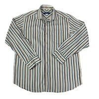 Tommy Bahama Mens Size Medium Multicolor striped Long Sleeve Button Front Shirt