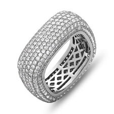 Square Eternity Wedding Band Ring with Micro Pave CZ, Sterling Silver, Size 7-9