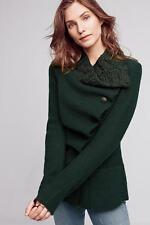NWT ANTHROPOLOGIE Asymmetrical Wool Jacket Sweater Coat Dark Green Sz L $198