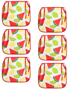 Lemon Lime Watermelon Chair Seat Cushions Set of 6 Pads For Indoor & Outdoor Use