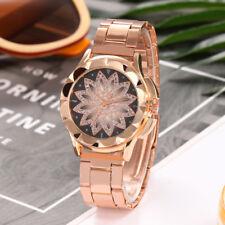 Flower Pattern Round Dial Quartz Womens Rose Gold Wristwatch SS Hours Watch