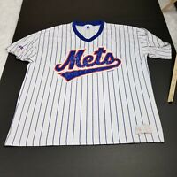 VINTAGE Russell Athletic New York Mets Baseball Shirt Jersey XXL 2XL White Blue