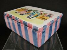 Vintage Circus CLOWNS Walter Hatches Italian Ceramic Art Pottery Trinket Box