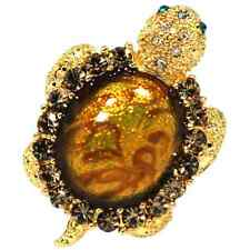 Brown Sparkling Crystals Baby Turtle Pin Brooch