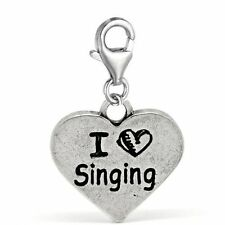 """Clip on """"I Love Singing"""" Charm Pendant for European Jewelry w/ Lobster Clasp"""