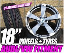 """18 """" Ttrs Rotor Style Jantes et Pneus pour Audi A3 VW Golf Mk 5 6 7 Caddy Leon"""