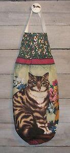 Brown Striped Cat Kitty Flowers Plastic Grocery Bag Rag Sock Holder Organizer