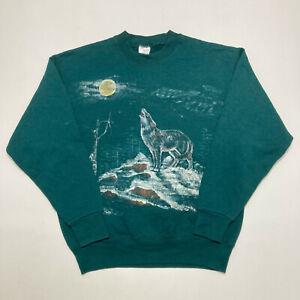 Vintage Wolf Print Ladies Sweatshirt Crew Neck Pullover Jumper Size M