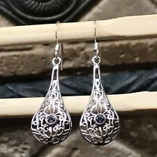 Natural Iolite Water Sapphire 925 Solid Sterling Silver Filigree Earrings 37mm