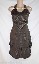 ALLTHATJAZZ – HALTER DRESS – BROWN - APPLIQUE - EMBROIDERY – ONE SIZE - NWT $50