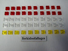 Lego Bulk Lot 50 TRANSLUCENT Red Clear Yellow 1x1 Flat Square Plates Headlights+