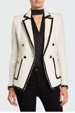 Veronica Beard Double-Breasted Ivory Lurex Tweed Cato Blazer Jacket XS/S $750