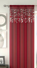 Red Silver Voile Arran Metallic Swirl Voile Net Curtain Slot Top Single Panel