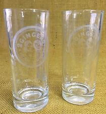 2 Gingers Irish Whiskey Hi Ball Glasses Set of TWO Big Ginger - Frosted Glass
