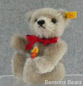 Steiff 1990 Original Replica Miniature Teddy Bear Grey Mohair 15cms Ean 0207/15