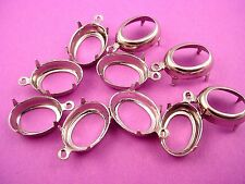 Silver Tone Oval Prong Settings 14x10 1 Ring Open Backs -16 Pieces