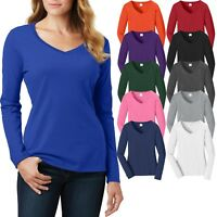 Ladies Plus Size V-Neck T-Shirt Long Sleeve Soft Cotton Womens Top XL, 2X, 3X 4X