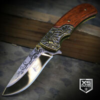 WESTERN Ornate WOOD HANDLE Cowboy Spring Assisted Pocket Knife GOLDEN Blade