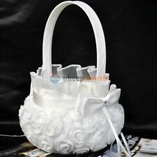 Romantic Bowknot Satin Wedding Ceremony Party Rose Flower Girl Basket White