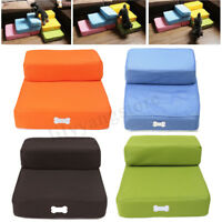 Pet Stair 2 Step Portable Puppy Dog Cat Soft Indoor Sofa Bed Folding Ramp