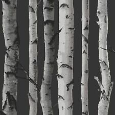 FINE DECOR BIRCH TREES WALLPAPER - BLACK AND SILVER FD31052 - FEATURE WALL NEW