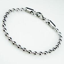 Unisex Women's Mens Stainless Steel Silver Beads Bracelet B6