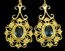 E016- GENUINE 9K 9ct Solid Gold Natural SAPPHIRE Filigree Drop Earrings