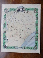 1941 Rare Map Drawings 12th African Div Preston Old Vintage WW2 Military Army