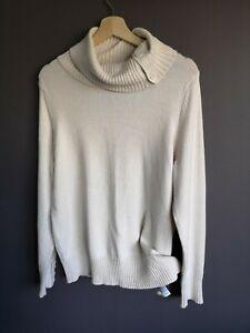 Jumper 16 Light Beige Ivory Roll Neck buttons medium cotton knit Bhs like new
