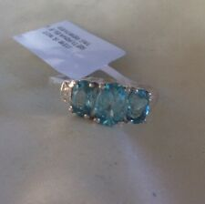 1.5 Ct, Paraibe Apatite Ring, 3 Stone, Sterling Silver, Size Q Or O