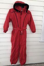 Women's Obermeyer 8 Jasmine Ski Suit One Piece Red Full Body Hoodie Vintage Belt